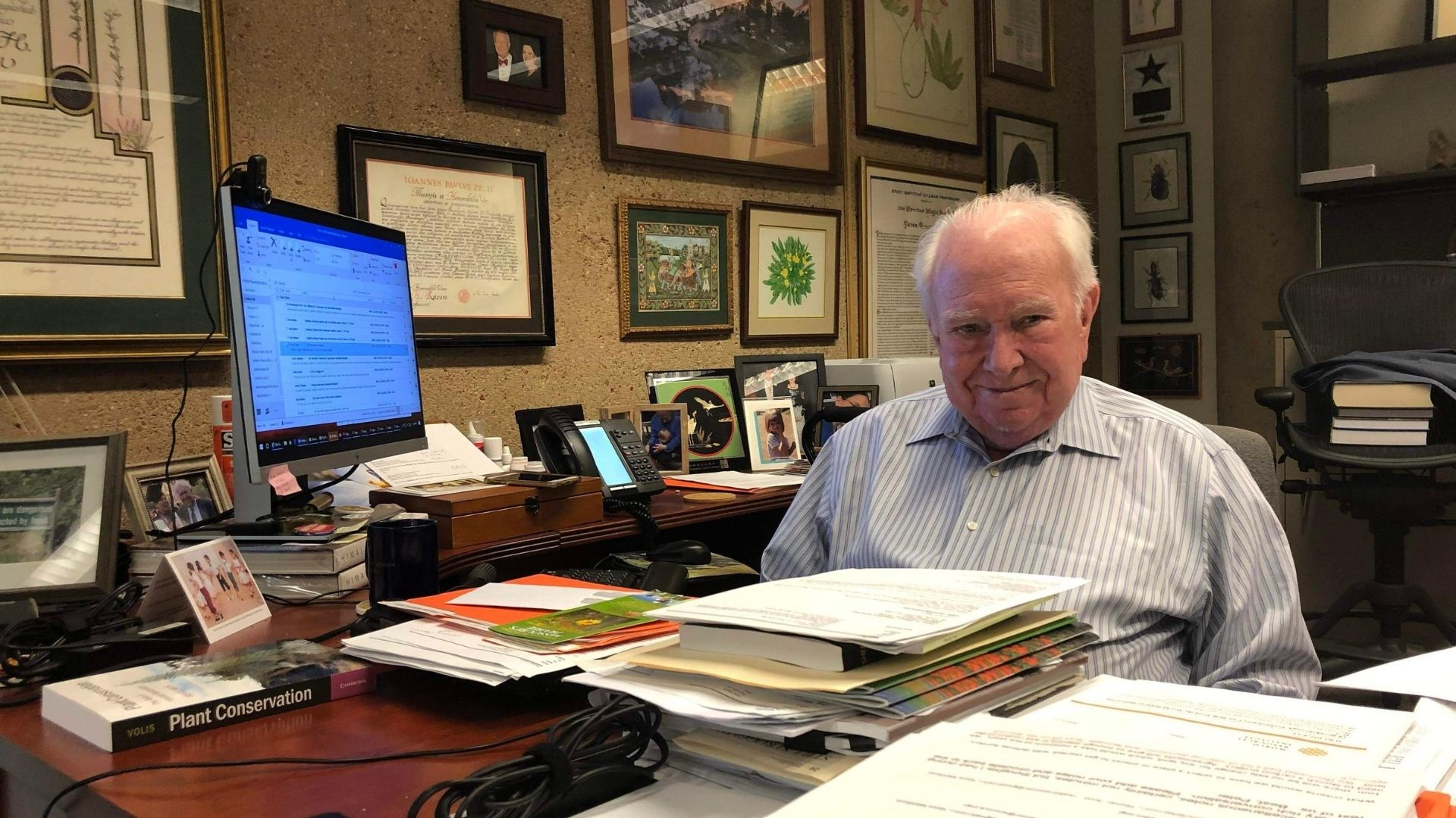 Dr. Peter Raven in his office