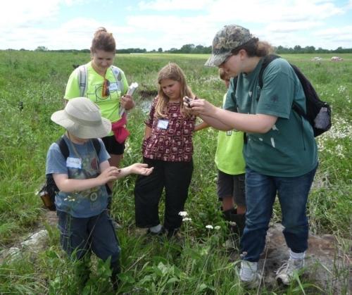 Visitors explore Denison Prairie