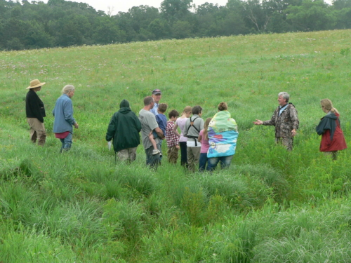 group in the prairie Learning about reptiles & amphibians at Gayfeather
