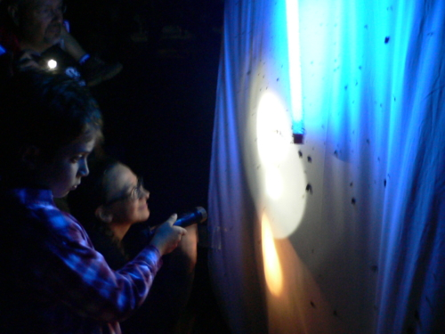 Shining lights on a white sheet for Nocturnal insect observation at Gayfeather Prairie