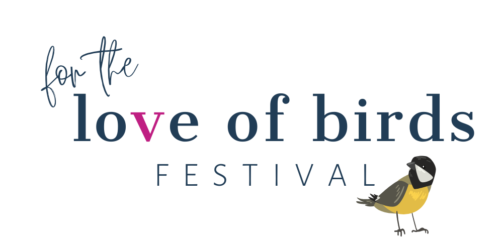 "Logo for ""For the Love of Birds"" with a small yellow bird cartoon"